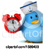 Clipart Of A 3d Blue Bird Sailor Holding An Alarm Clock On A White Background Royalty Free Illustration