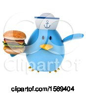 Clipart Of A 3d Blue Bird Sailor Holding A Burger On A White Background Royalty Free Illustration