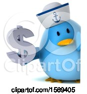 Clipart Of A 3d Blue Bird Sailor Holding A Dollar Sign On A White Background Royalty Free Illustration