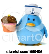Clipart Of A 3d Blue Bird Sailor Holding A Cupcake On A White Background Royalty Free Illustration