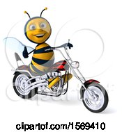 Poster, Art Print Of 3d Male Bee Riding A Chopper Motorcycle On A White Background