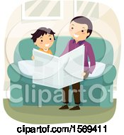 Clipart Of A Father Reading The Newspaper To His Son Royalty Free Vector Illustration by BNP Design Studio