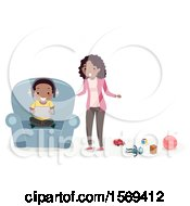 Clipart Of A Mother Telling Her Son To Stop Playing Games And Clean Up Toys Royalty Free Vector Illustration