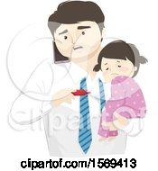 Clipart Of A Dad Holding His Sick Daughter And Taking Her Temperature While Calling The Doctor Royalty Free Vector Illustration