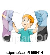 Clipart Of A Boy Between His Two Neglectful Parents Royalty Free Vector Illustration
