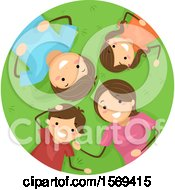 Clipart Of A Happy Family Laying On Grass Royalty Free Vector Illustration by BNP Design Studio