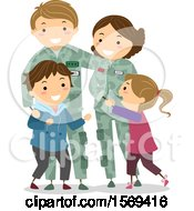 Clipart Of A Happy Family With Military Parents Royalty Free Vector Illustration