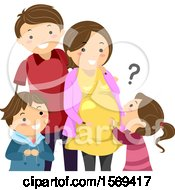 Clipart Of A Happy Family With Children Asking About A Baby Royalty Free Vector Illustration
