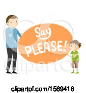 Clipart Of A Father Teaching His Son To Say Please Royalty Free Vector Illustration