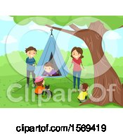 Clipart Of A Happy Family With A Hanging Tent Royalty Free Vector Illustration