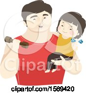 Clipart Of A Dad Holding His Son And Working Out With Weights Royalty Free Vector Illustration
