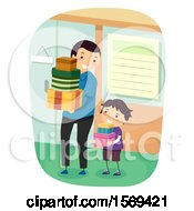 Clipart Of A Father And Son Carrying Shopping Boxes Royalty Free Vector Illustration