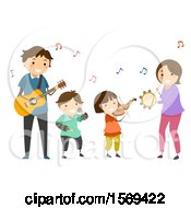 Clipart Of A Happy Family Playing A Guitar Violin Tambourine And Singing Together Royalty Free Vector Illustration by BNP Design Studio