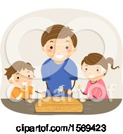 Clipart Of A Father Teaching His Son And Daughter Woodworking Royalty Free Vector Illustration by BNP Design Studio