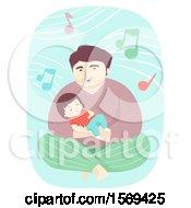 Poster, Art Print Of Toddler Girl Sleeping In Her Dads Arm As He Sings