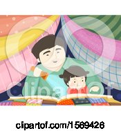 Clipart Of A Dad Reading A Story Book To His Daughter In A Blanket Fort Royalty Free Vector Illustration