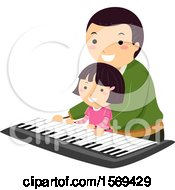 Father Teaching His Daughter How To Play A Piano