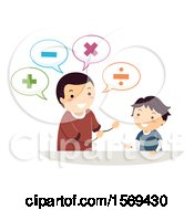 Clipart Of A Father Teaching His Son Math Royalty Free Vector Illustration
