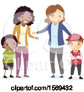 Clipart Of Mothers Asking Their Sons To Apologize After A Fight Royalty Free Vector Illustration