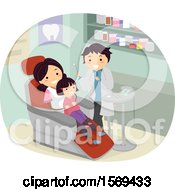 Clipart Of A Mother Holding Her Daughter At The Dentist Royalty Free Vector Illustration