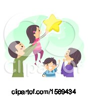 Clipart Of A Happy Family Reaching For The Stars Royalty Free Vector Illustration