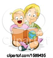 Poster, Art Print Of Baby Girl Sitting In Her Big Brothes Lap And Reading A Book About Geography