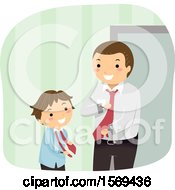 Clipart Of A Father Teaching His Son How To Put On A Neck Tie Royalty Free Vector Illustration