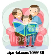 Poster, Art Print Of Daughter Sitting With Her Parents And Reading A Geography Book