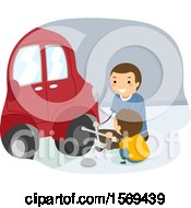 Clipart Of A Father Teaching His Son How To Change A Tire Royalty Free Vector Illustration