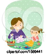 Clipart Of A Mother Teaching Her Daughter A Sewing Craft Royalty Free Vector Illustration by BNP Design Studio