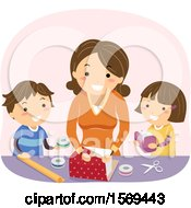Clipart Of A Mother Teaching Her Kids How To Wrap A Gift Royalty Free Vector Illustration