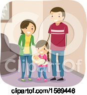 Clipart Of A Girl Holding Her Baby By Her Parents Royalty Free Vector Illustration