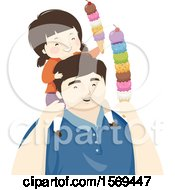Clipart Of A Dad Carrying His Daughter On His Shoulders And Eating Ice Cream Royalty Free Vector Illustration by BNP Design Studio