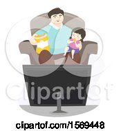 Dad Watching A Movie With His Daughter