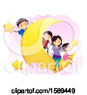 Clipart Of A Happy Family On A Crescent Moon With Stars Royalty Free Vector Illustration