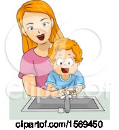 Clipart Of A Toddler Boy Washing His Hands With His Mom Royalty Free Vector Illustration