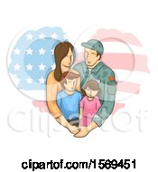 Clipart Of A Military Dad And His Family Over An American Flag Heart Royalty Free Vector Illustration