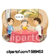 Clipart Of A Girl Saying Excuse Me After Burping In A Restaurant Royalty Free Vector Illustration