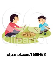 Clipart Of A Father Teaching His Son How To Build A Camp Fire Royalty Free Vector Illustration by BNP Design Studio