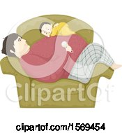 Poster, Art Print Of Baby Boy Sleeping On His Dads Tummy In A Chair