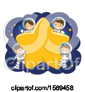Clipart Of A Family Of Astronauts Around A Star Royalty Free Vector Illustration