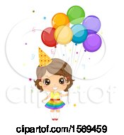 Clipart Of A Girl Wearing A Party Hat And Holding Balloons Royalty Free Vector Illustration by BNP Design Studio