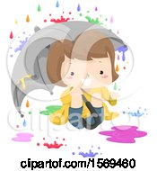 Clipart Of A Girl Under An Umbrella Watching Colorful Rain Drops Fall Royalty Free Vector Illustration