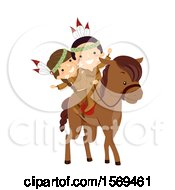 Clipart Of Group Of Native American Children Riding A Horse And Waving Royalty Free Vector Illustration