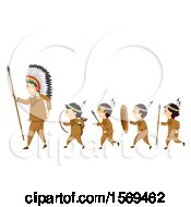 Clipart Of A Group Of Native American Boys Carrying Hunting Equipment And Following A Man Royalty Free Vector Illustration