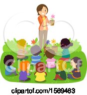 Clipart Of A Teacher And Children Talking About Gardening Royalty Free Vector Illustration