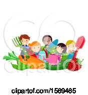 Group Of Children With Giant Produce And Garden Tools