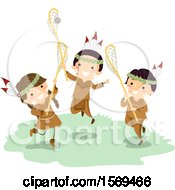 Clipart Of A Group Of Native American Children Playing Lacrosse Royalty Free Vector Illustration