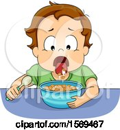Clipart Of A Toddler Boy Spitting Out His Cereal Royalty Free Vector Illustration