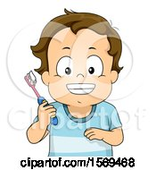 Clipart Of A Toddler Boy Smiling And Holding A Toothbrush Royalty Free Vector Illustration by BNP Design Studio
